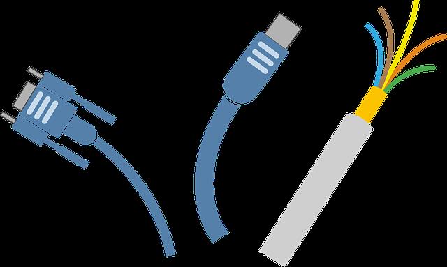 elektrické kabely, zástrčky